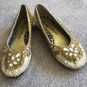 Beverly Feldman white iridescent sequins with gold